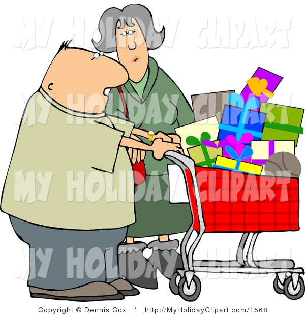 Clip Art Of A Husband And Wife Shopping Together For Christmas