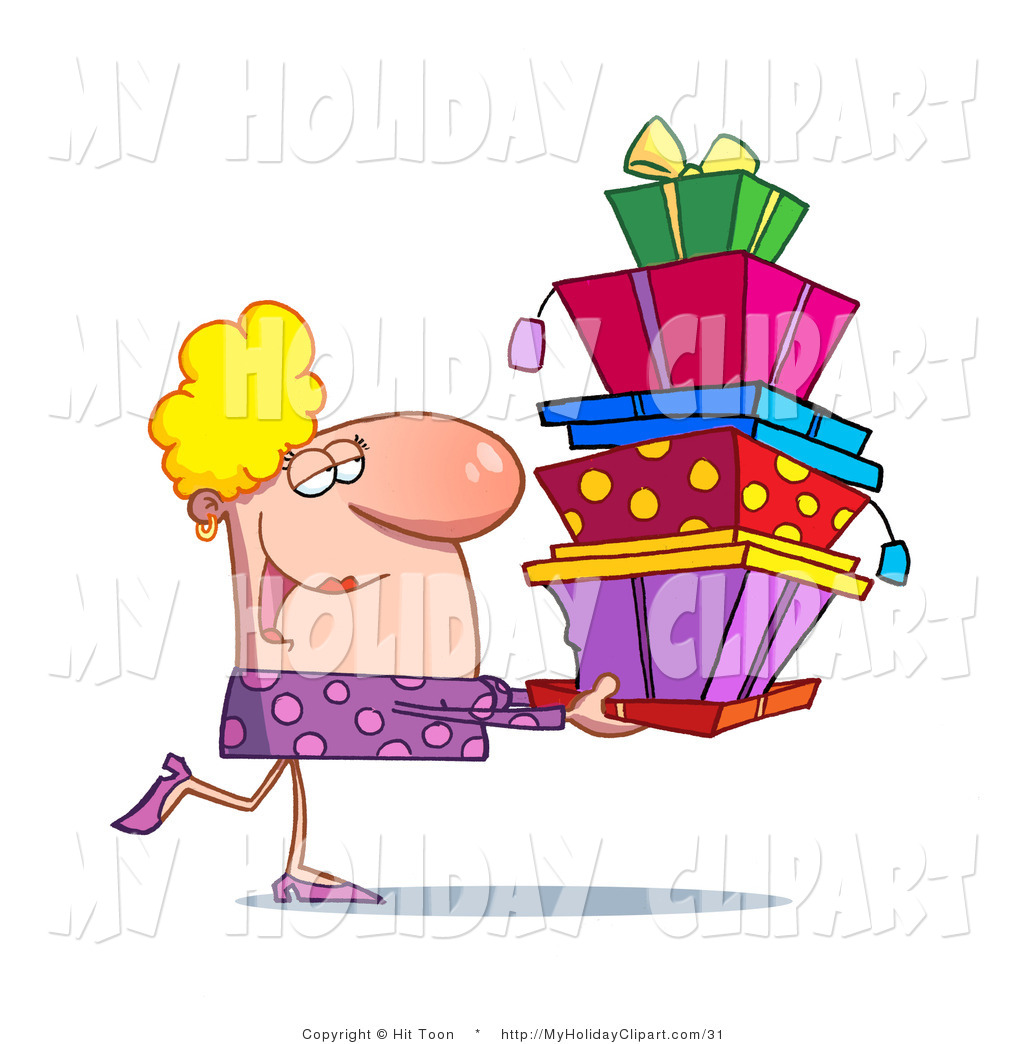 Clip Art Of A Rich Blond Woman Wearing A Purple Dress Happily