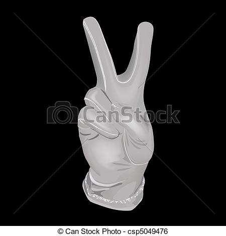 Clip Art Vector Of Hand In A White Glove Shows A Symbol Of Victory