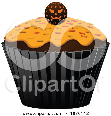 Clipart 3d Halloween Cupcake With A Jackolantern   Royalty Free Vector
