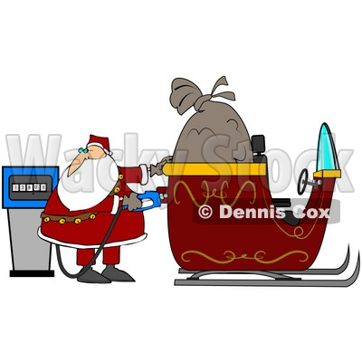 Clipart Illustration Of Santa Watching The Cost Rise On The Gas Pump