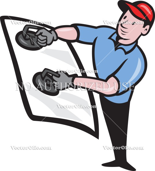 Glass Installer Worker Hold Windshield   Royalty Free Cartoon Vectors