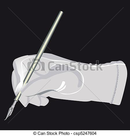 Glove   Pen In Hand Illustration In Vector    Csp5247604   Search Clip