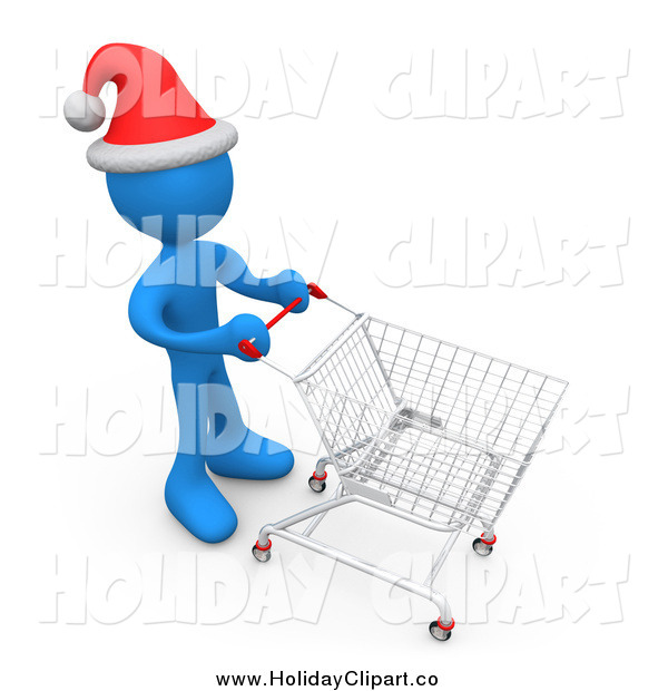 Holiday Clip Art Of A 3d Blue Person Wearing A Santa Hat And Pushing A