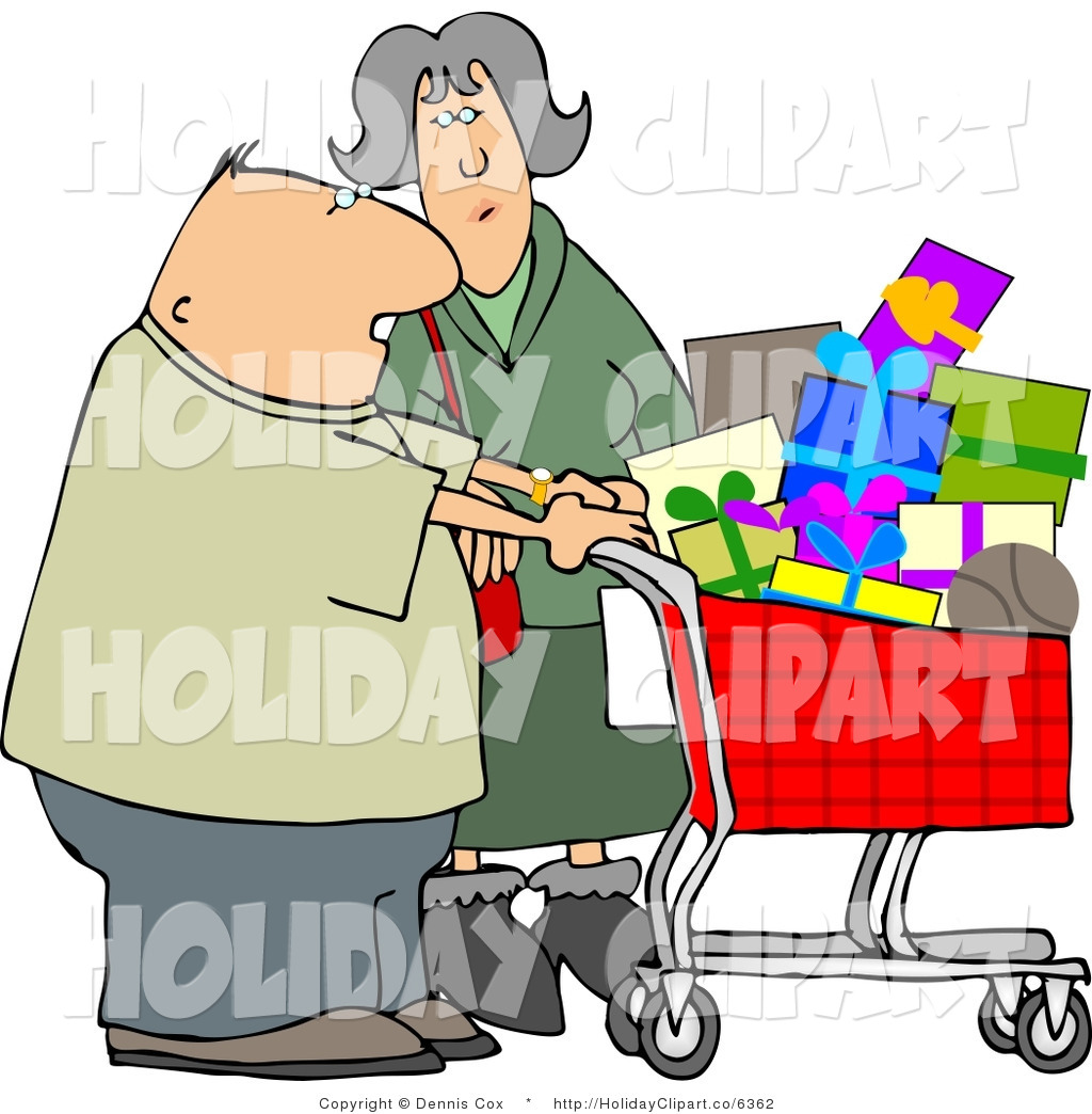 Holiday Clip Art Of A Caucasian Husband And Wife Shopping Together For