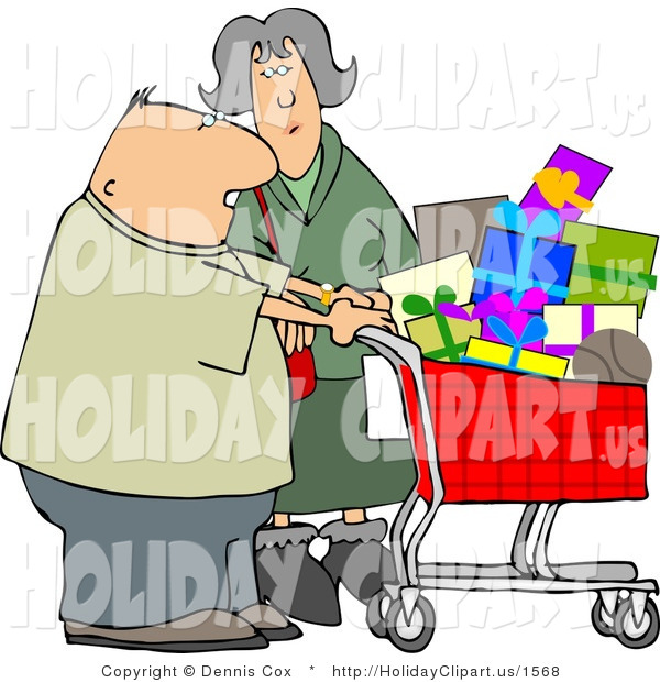 Holiday Clip Art Of An Elderly Husband And Wife Shopping Together For