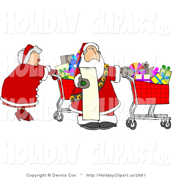 Holiday Clip Art Of Mr  And Mrs Claus Shopping For Christmas Presents