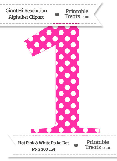 Hot Pink Polka Dot Number 1 Clipart From Printabletreats Com