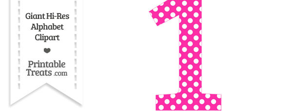 Hot Pink Polka Dot Number 1 Clipart   Printable Treats Com