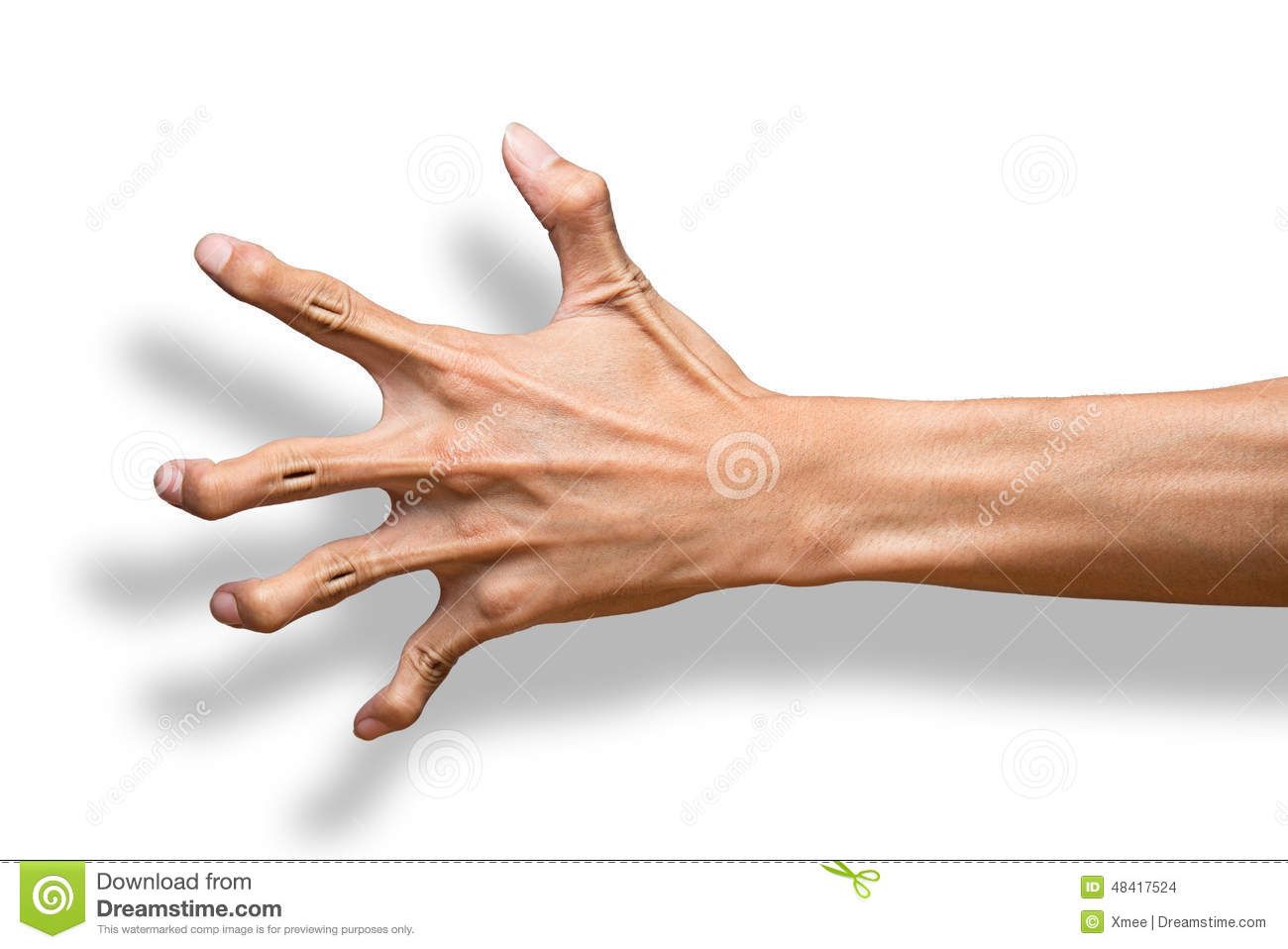 Male Hand Making A Claw Gesture Isolated On A White Background
