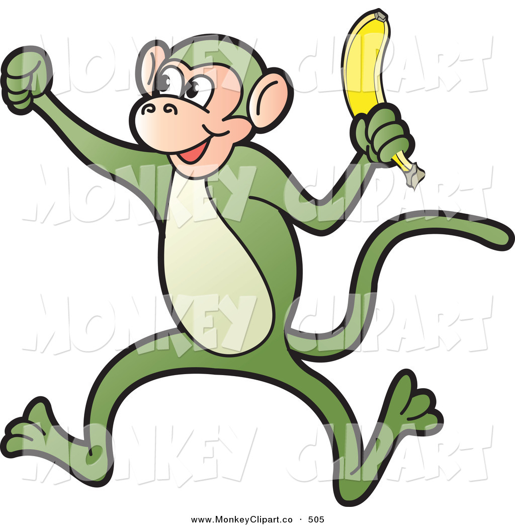 Monkey Banana Clipart Clip Art Of A Silly Green
