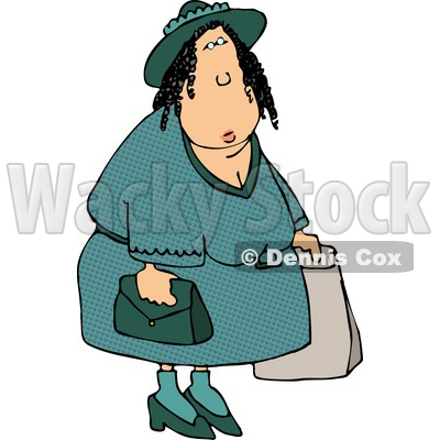 Overweight Woman Shopping Around Clipart   Dennis Cox  4647