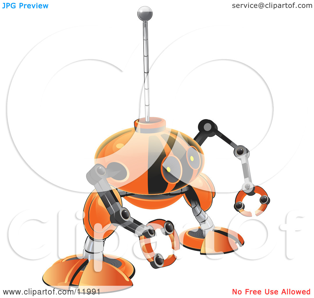 Small Orange Robot With Claw Hands Clipart Illustration By Leo