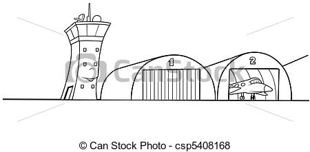 Vector Of Airport Hangar   Black And White Cartoon Illustration
