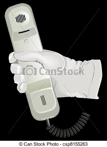 Vectors Of The Hand White Glove Hold Telephone Illustration In Vector