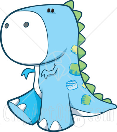 13560 Cute Blue T Rex Dinosaur With Green Spines Clipart Illustration