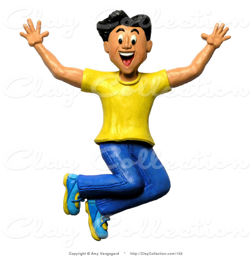 3d Happy And Energetic Cheering Man Jumping By Amy Vangsgard    152