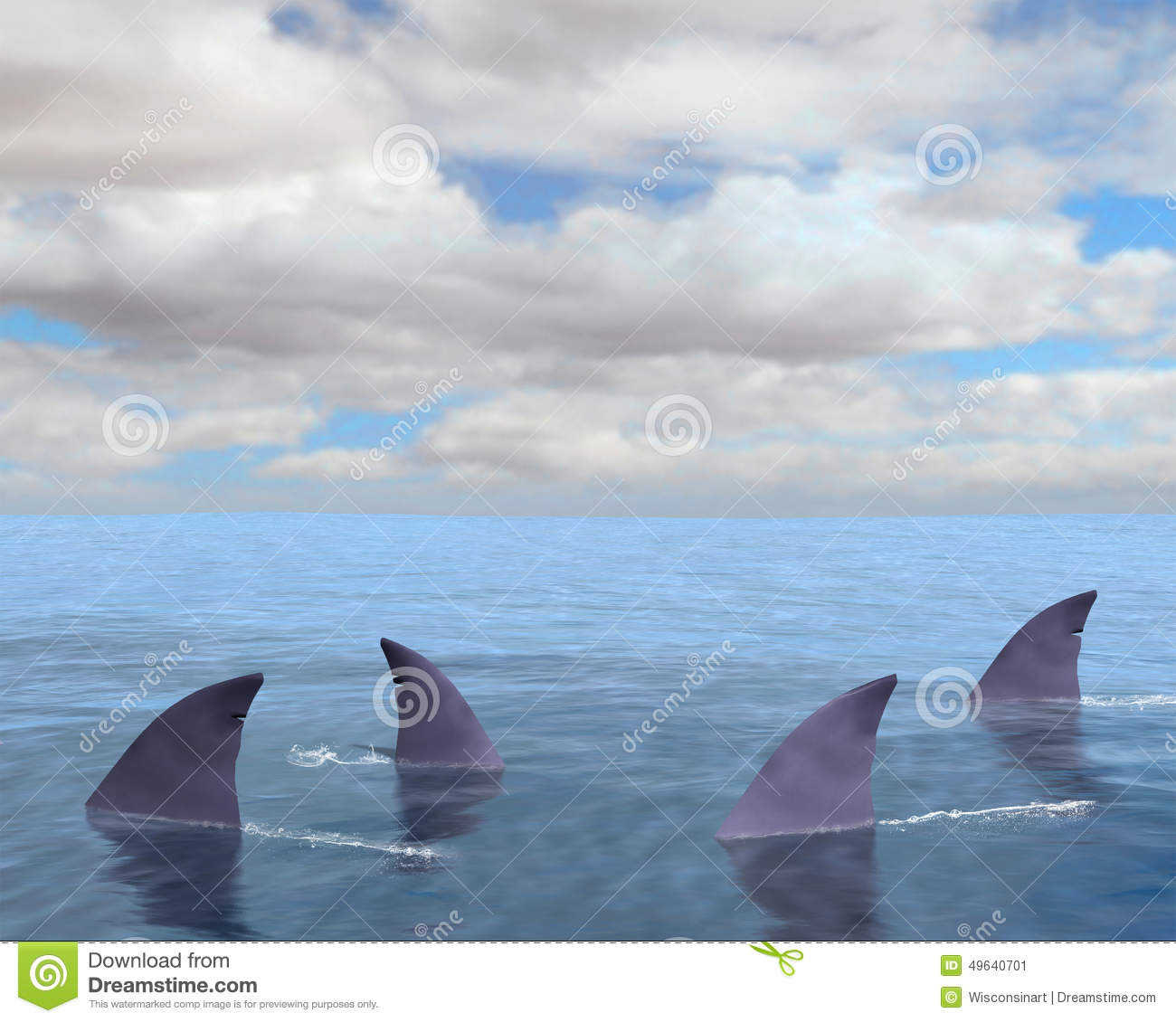 Background Illustration Of Shark Fins In The Sea Or Ocean  Sharks Are