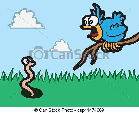 Cartoon Bird Staring At Worm In The Grass Csp11474669   Search Clipart