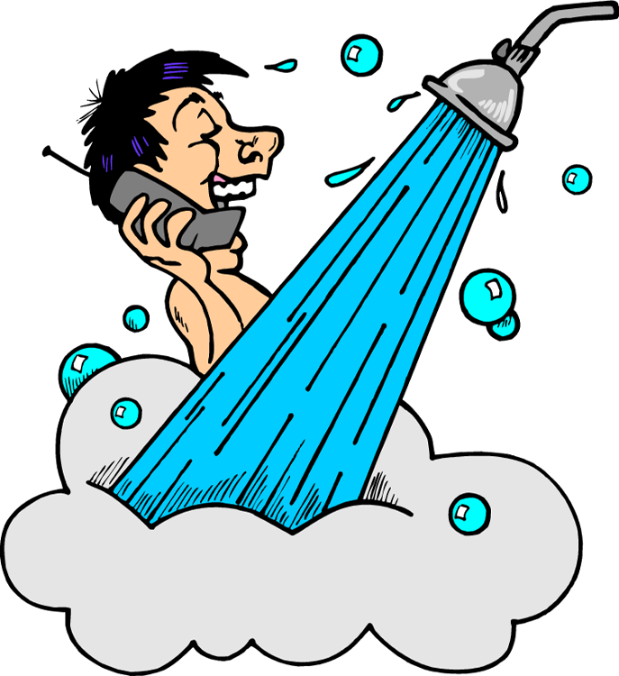 Cartoon Of Man In Bath Shower And Talking On Phone