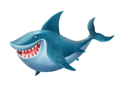 Cartoon Shark Clipart Blue 3d Fish Illustration   Just Free Image