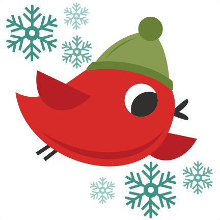Christmas Bird Cute Christmas Words Clipart Svg Cutting Files