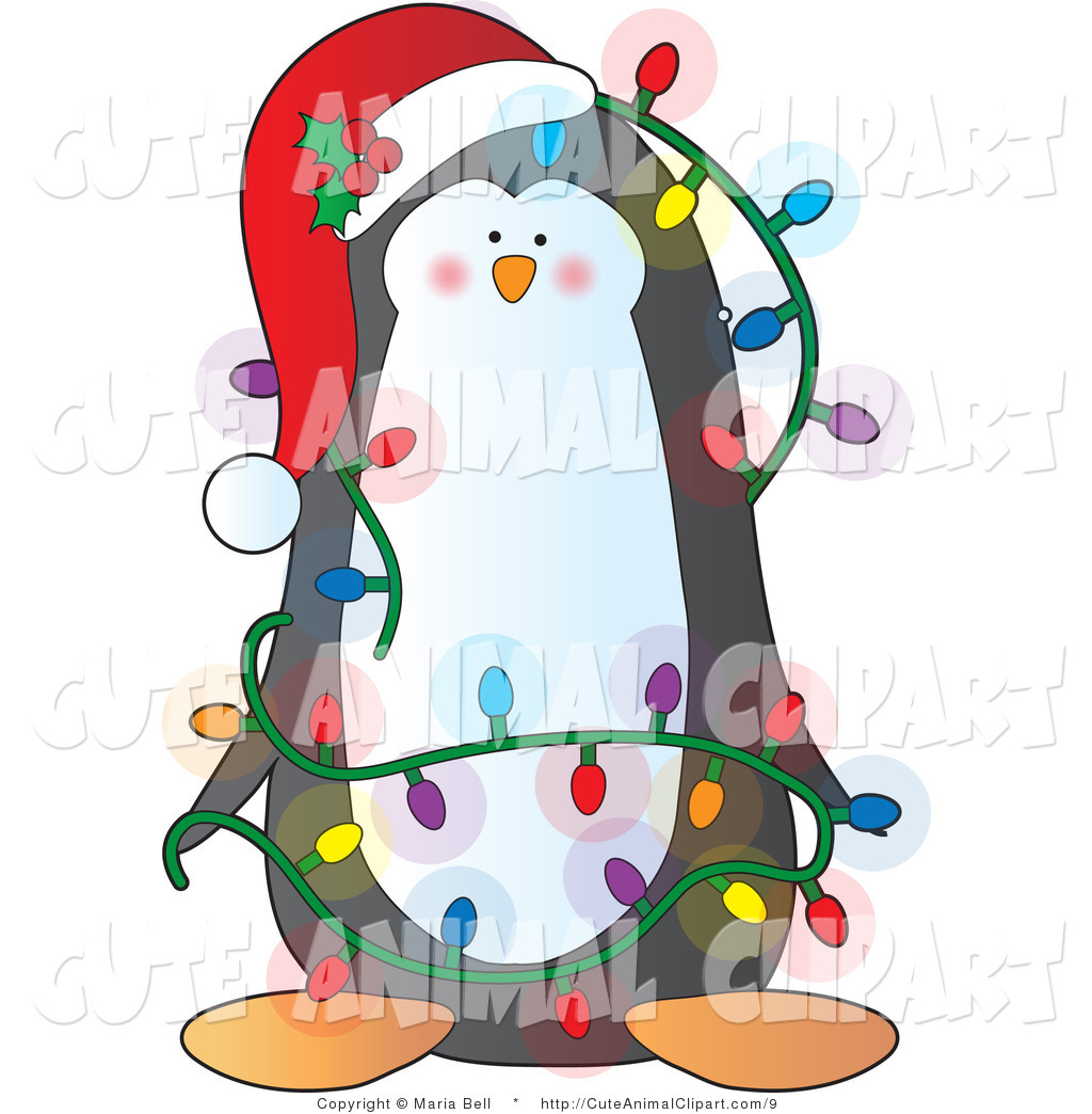 Clip Art Of A Cute Christmas Penguin Decked Out In Lights By Maria