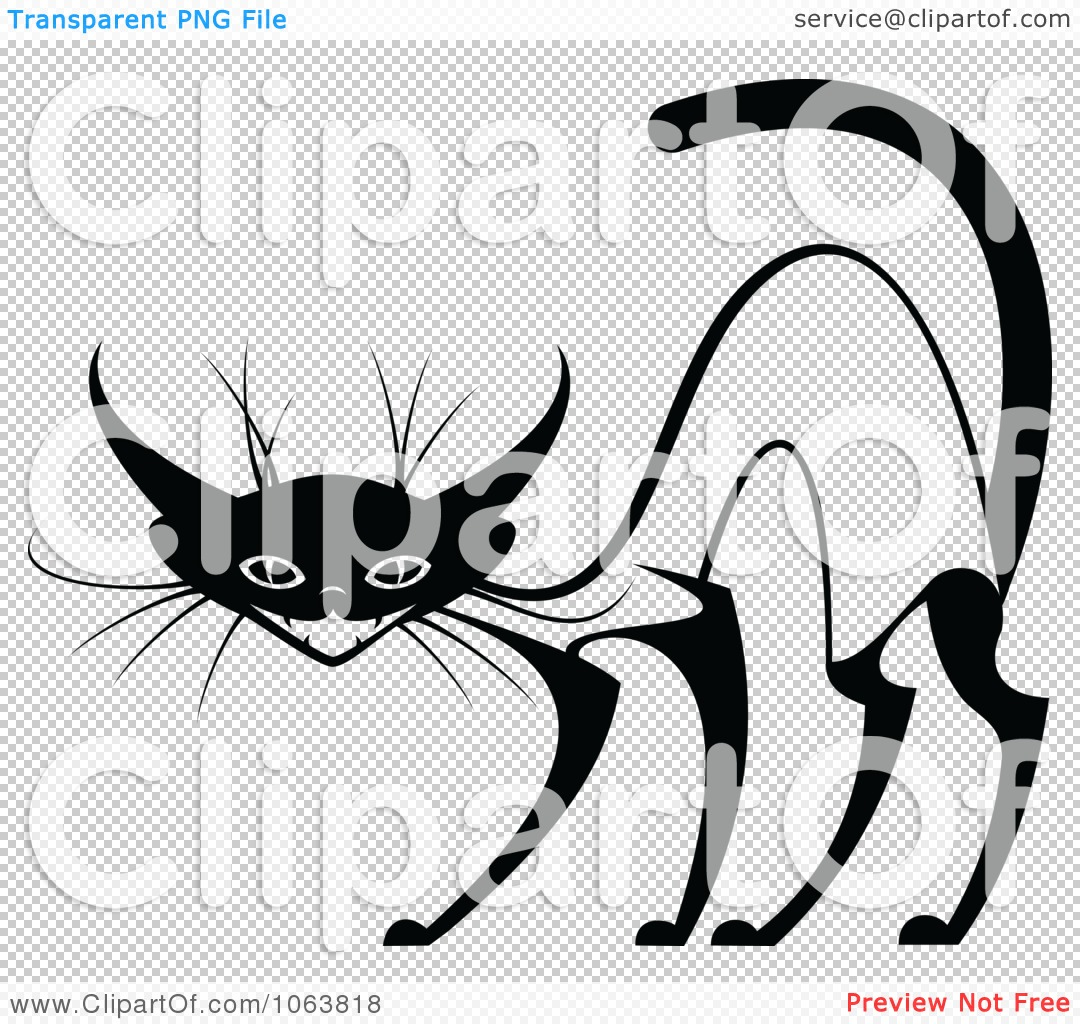 Clipart Evil Siamese Cat Black And White 2   Royalty Free Vector