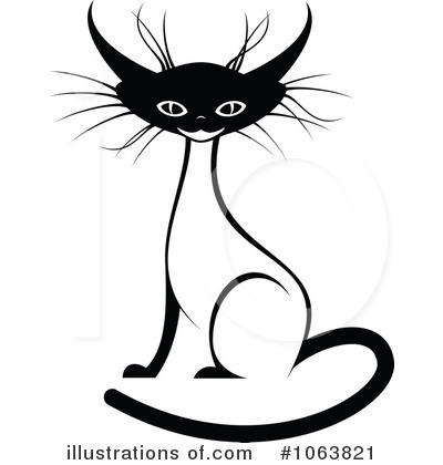 Clipart Evil Siamese Cat Black And White Royalty Free Vector Picture