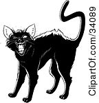 Clipart Illustration Of An Evil Black Cat Arching Its Back Twitching