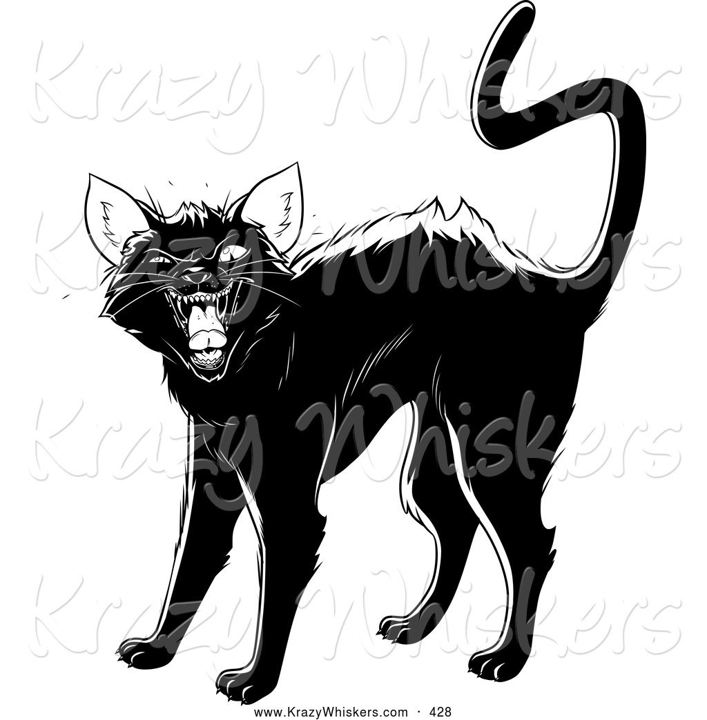 Critter Clipart Of An Evil Black Cat Arching Its Back Twitching Its