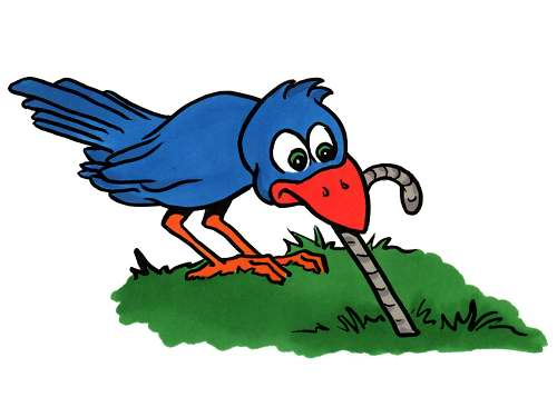 Early Bird Gets The Worm Pun   Free Clip Art