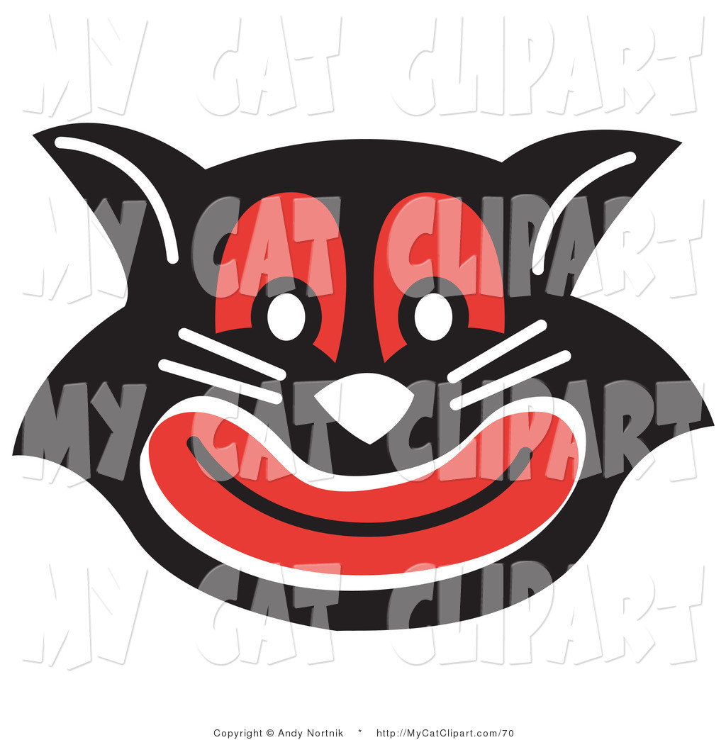 Evil Black Cat With Red Eyes And Mouth Grinning Enthusiastic Black Cat