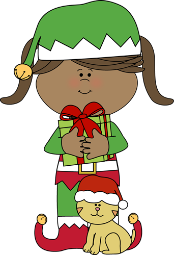 Girl Christmas Elf With Christmas Cat Clip Art   Girl Christmas Elf