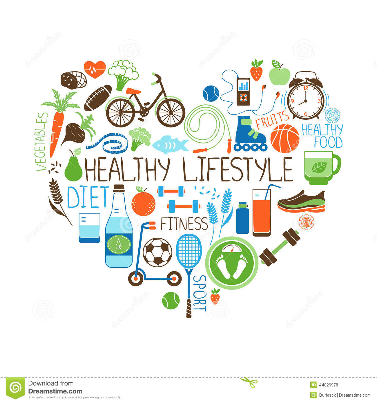 Healthy Lifestyle Diet And Fitness Vector Sign In The Shape Of A Heart
