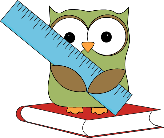 Owl Sitting On A Book With A Ruler Clip Art Image   Owl Sitting On A