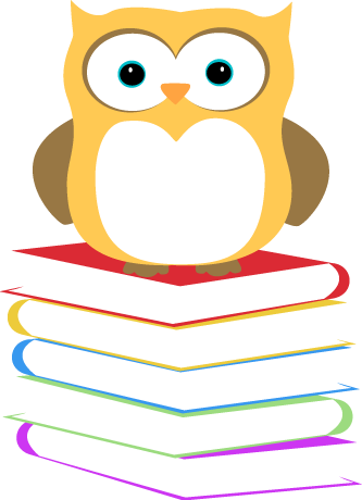 Owl Sitting On A Stack Of Books Clip Art Image   Yellow Owl Sitting On
