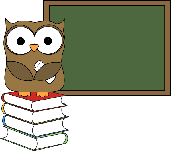 Owl With Books And Chalkboard Clip Art   Owl With Books And Chalkboard