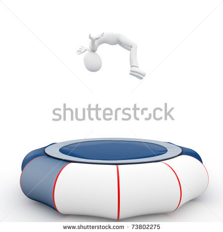 Person Jumping On Trampoline Clipart
