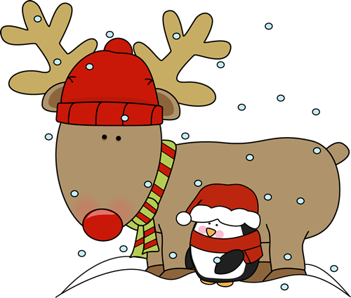 Reindeer And Penguin Clip Art   Red Nose Reindeer Wearing Red And