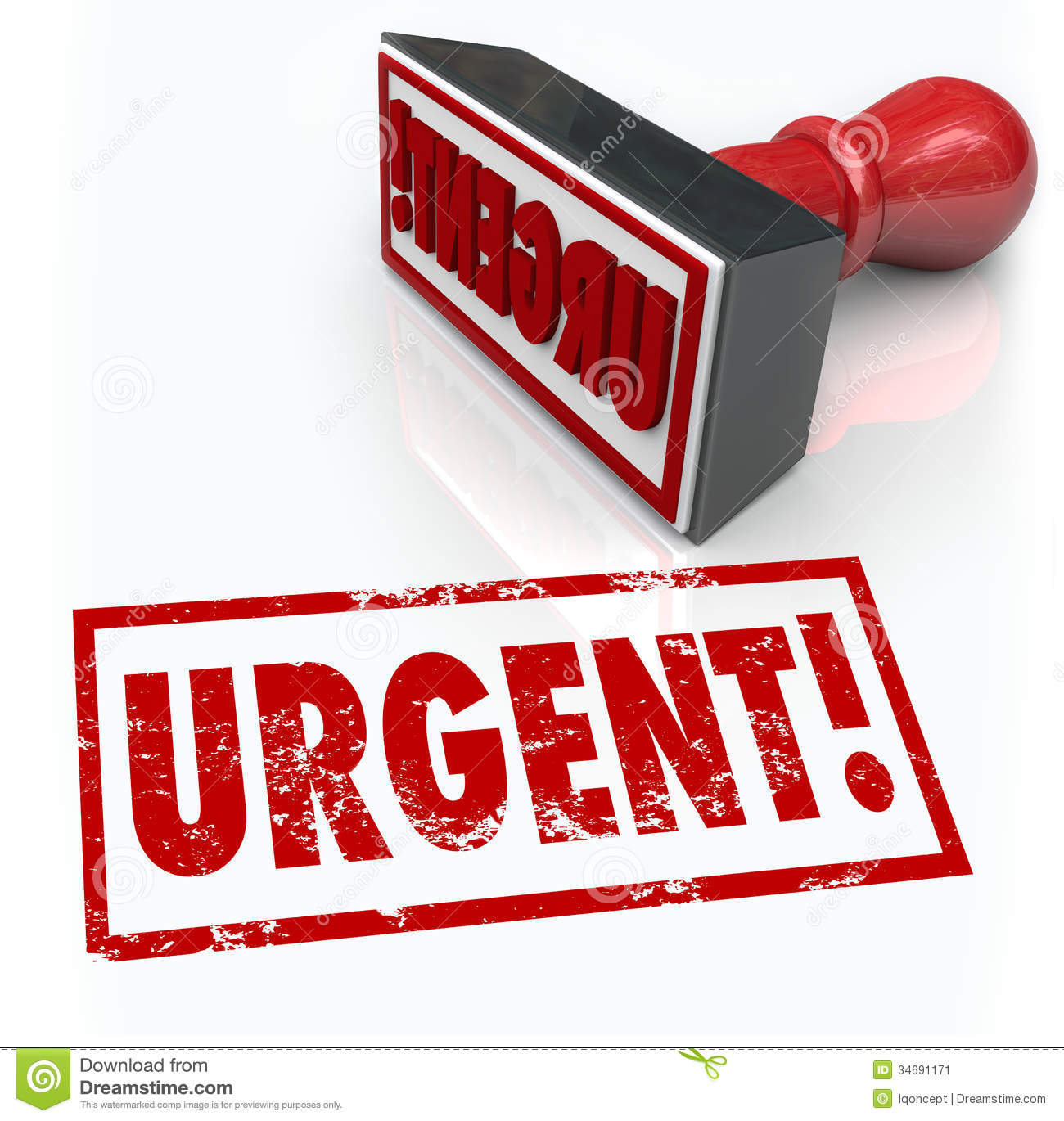 The Word Urgent On A Red Rubber Stamp To Illustrate An Emergency Or
