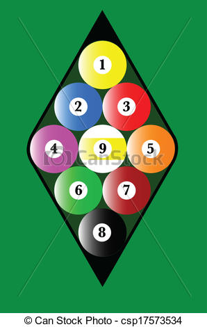 Vectors Of Nine Ball Rack   A Pool Nine Ball Rack With The Balls In