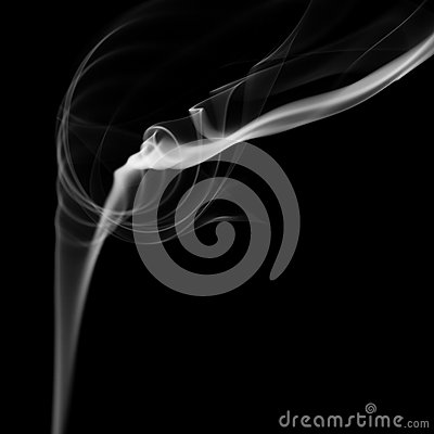 Abstract White Smoke Flow On Black Background