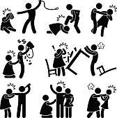 Abusive Husband Boyfriend Pictogram   Clipart Graphic