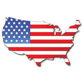 American Flag On A Usa Map   Clipart Graphic