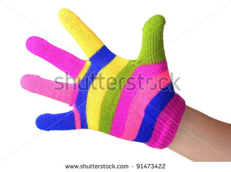 Bright Striped Baby Gloves On Hand Isolated On White Stock Photo