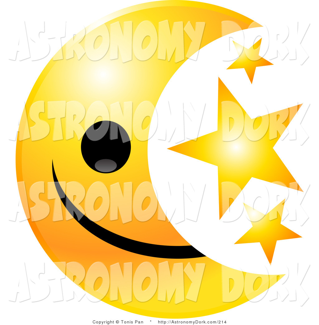 Clip Art Of A Yellow Crescent Moon Emoticon Face With Three Golden