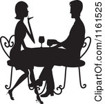 Clipart Of A Silhouetted Couple Drinking Wine At A Table Royalty Free