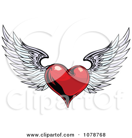 Clipart Red Shiny Winged Heart   Royalty Free Vector Illustration By
