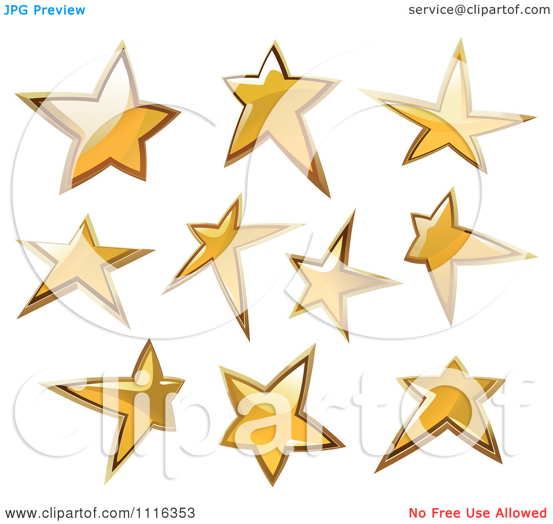 Clipart Shiny Golden Star Icons   Royalty Free Vector Illustration By